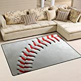 Naanle Sport Area Rug 3'x5′, Baseball Lace Polyester Area Rug Mat for Living Dining Dorm Room Bedroom Home Decorative