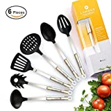 LUMOUR 6-Piece Nonstick Nonscratch Kitchen Cooking Utensils, Nylon and Stainless Steel Kitchen Tools Set (Nylon)