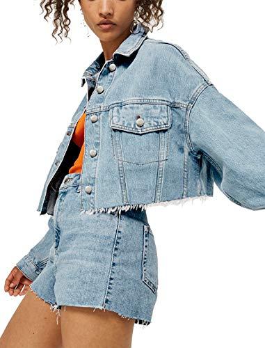 Tsher Women's Loose Casual Coat Blue Washed Long Sleeve Denim Short Jacket for Women D002 (L, Blue)