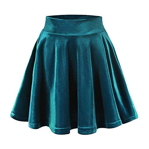 Discount FISOUL Women's Velvet Stretchy High Waist Mini Skirt Flared Pleated Skater Skirt free shipping