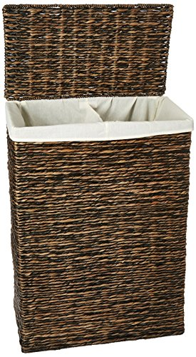 Lamont Home Kianna Collection - Family Hamper - Available in chocolate, natural Hand Twisted Water Hyacinth Spot clean with damp cloth - laundry-room, hampers-baskets, entryway-laundry-room - 51NUZtrHdXL -