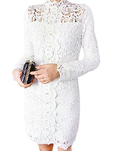 Women's Long Sleeve Lace Sexy Elegant Beaded Floral Print Best Dress