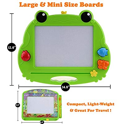 CHUCHIK Toys Magnetic Drawing Board for Kids and Toddlers. Large 15.7 Inch Magna Doodle Writing Pad Comes with a 4-Color Travel Size Sketch Doodle Board.(Frog): Toys & Games