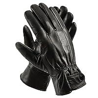 Guantes de conducción forrados en cuero genuino para hombres de Anccion, guantes para motocicleta (medianos)