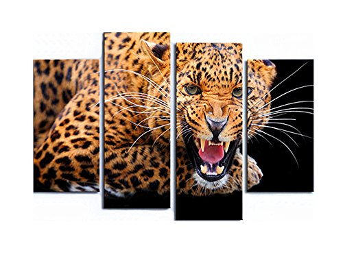 BERDECIA Yellow Angry Spots Leopard Roaring Oil Painting Printed on Canvas Wall Art Modern Abstract Nature Brown Cheetah 4 Pieces Large Cats Wall Art for Living Room Wildlife Feline(No - Cat Brown Eye Spot On