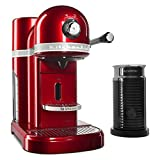 KitchenAid KES0504CA0 Candy Apple Red Nespresso Espresso Maker with Aeroccino Milk Frother