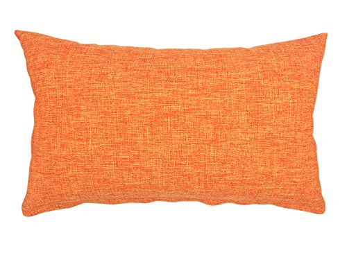 YOUR SMILE Solid Color Cotton Linen Decorative Throw Pillow Case Cushion Cover Pillowcase for Couch Sofa Bed,12 X 20 Inches (Orange) (Throws Bed Single)