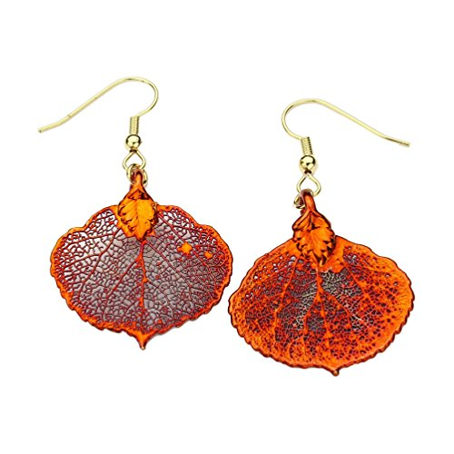Irridescent Copper-Plated Aspen Leaf Earrings