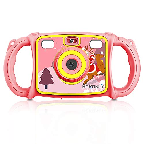 Hokonui Kids Camera, Digital Action Camera Camcorder with 1080P HD Video Recorder Non-Slip and Anti-Drop Design for Boys Girls Includes 16GB Memory Card (Pink)