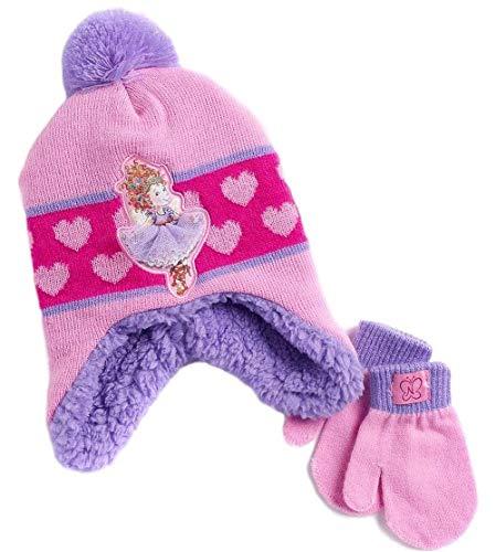 Fancy Nancy Girls Knit Winter Hat and Mitten Set Pink Purple Little Girl Toddler