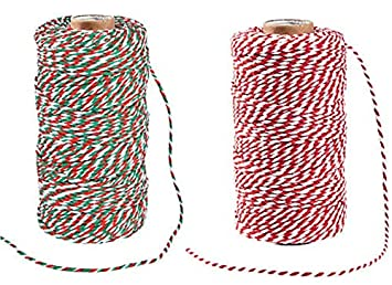 Red /& White Holiday Bakers Twine Perfect for Baking Red /& White and Green Holiday Crafts or Christmas Gift Wrapping Set of 2 Chalkallaboutit