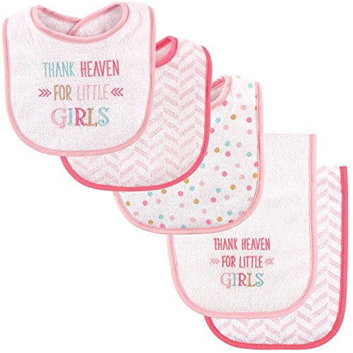 Luvable Friends Bib and Burp Cloth Set, Thank Heaven for Girls (Thank Girl Heaven)