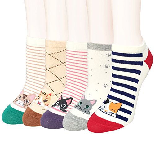 5-Pairs-Womens-Cute-Animal-Design-Colorful-Cotton-Casual-Crew-Socks-by-Fasker