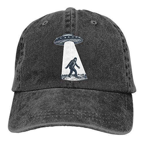 Waldeal Unisex UFO Bigfoot Adjustable Vintage Baseball Cap Washed Denim Dad Hat Black]()