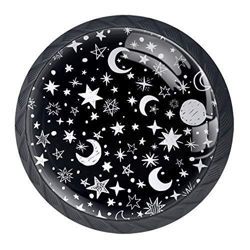 - DEYYA Black and White Stars Moon Crystal Glass Drawer Knob Pull Handle 30mm Ergonomic Circle Cabinet Handle with Screws 4 PCS
