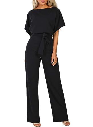 Happy Sailed Damen Kurzarm O-Ausschnitt Elegant Lang Jumpsuit Overall Hosenanzug Playsuit Romper S-XL