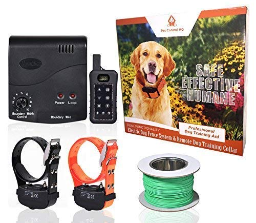 Wireless Combo Electric Dog Fence System with Remote Dog Training Collar by PetControlHQ, Safe Dog Containment, Waterproof, Rechargeable Dog Shock Collar & Hidden Wire Pet Fence (2 Collar with Remote)