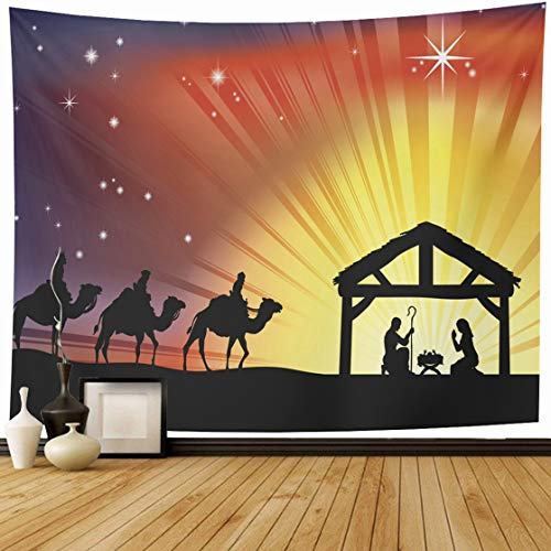 Ahawoso Tapestry Wall Hanging 60x50 Baby Jesus Christian Christmas Nativity Christianity Scene Holidays Manger Wise Backlit Home Decor Tapestries Decorative Bedroom Living Room Dorm ()
