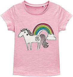 Soft Comfortable Breathable Little Girls Summer Cartoon Pattern Cotton Short Sleeve T-Shirt