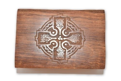 Nature's Enlightenment Celtic Cross Carved Wooden Box - Tarot Cards, Crystals, Altar Supplies, Healing, Meditation, Gift Giving