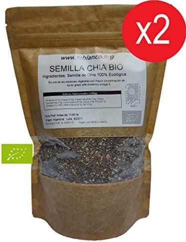 Pack 2 x 1Kg Semilla de Chia Ecológica Certificada: Amazon.es: Alimentación y bebidas