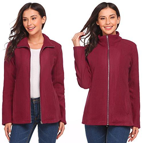 Vansop Women's Casual Stand Collar Solid Full Zip Fleece Jacket(S-XXL) (Short Jacket Zip Wool)
