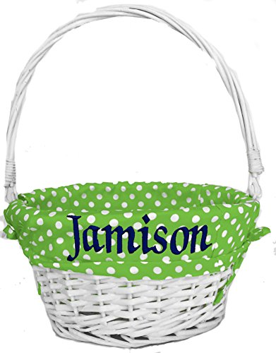 Personalized Easter Baskets for Boys or Girls - ( Green Polka Dot Liner - Personalized) White Wicker Basket with Folding Handle for Kids Monogrammed with Child's Name in Embroidery]()