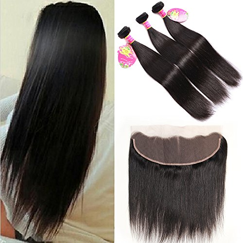 B&Q 8A Brazilian Straight Virgin Hair 3 Bundles Wefts with 13X4 Ear to Ear Lace Frontal Closure Human Hair Extensions Natural Color(14 14 14 with 12)