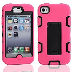 Case For Ipod Touch 4 Cover, Ipod Touch 4 case, MagicSky Robot Series Hybrid Armored Case with Kickstand for AppleCase For Ipod Touch 4 Cover1 PaRetail PackagiBlack/Hot Pink
