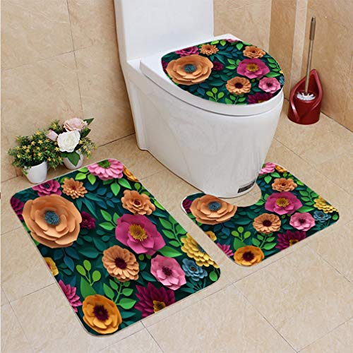 (Home Bathroom 3 Piece Sets,3d render digital illustration colorful paper flowers wallpaper spring summer background,Included Bath Area Rug+Lid Toilet Seat Cover+Contour Mat,Flannel Carpet)