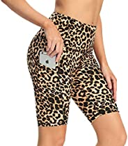 High Waist Biker Shorts with Pockets for Women - Tummy Control Stretchy Yoga Shorts for Workout, Running
