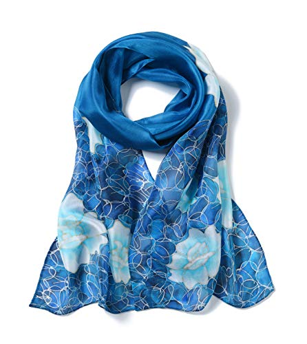 (Invisible World Women's 100% Mulberry Silk Scarf Long Hand Painted Floral-Blue)