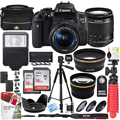 Canon T6i EOS Rebel DSLR Camera with EF-S 18-55mm f/3.5-5.6 is II Lens and Two (2) 16GB SDHC Memory Cards (32GB Total) Plus Triple Battery Tripod Cleaning Kit Accessory Bundle from Canon