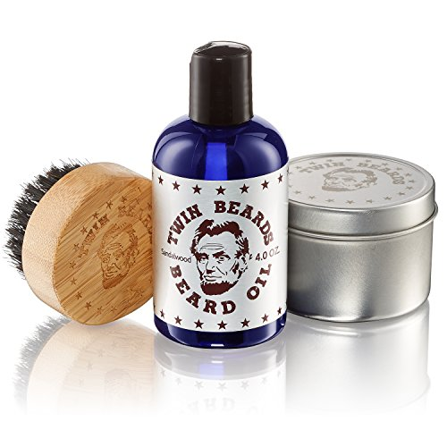 Twin Tin - Twin Beards Beard Care Set for Men | 100% Boar Bristle Beard Brush & Metal Tin | Vitamin E for Healthy Skin | Conditions for a Soft & Full Beard | Sandalwood & Jojoba Oil | 4 Oz U.S.A.