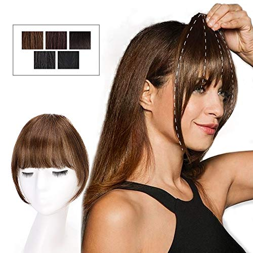 HMD Clip in Bangs 100% Human Hair Extensions Medium Brown Clip on Fringe Bangs with nice net Natural Flat neat Bangs with Temples for women One Piece Hairpiece for Daily Wear(Color:Caramel Brown)