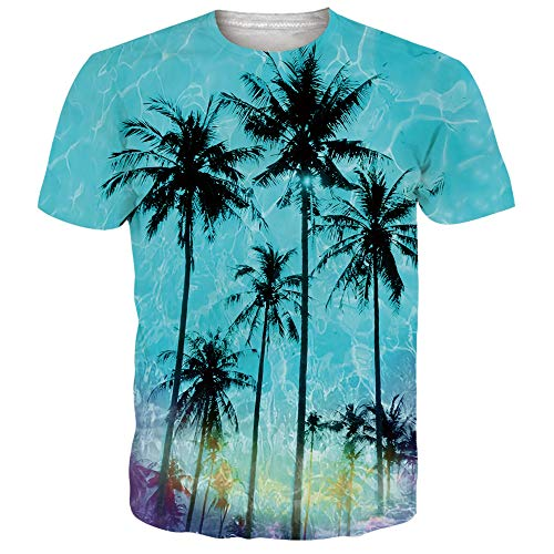 UNIFACO Women Men's Costumes 3D Graphic Tees Novelty Hawaiian Palm Tree Print Short Sleeve Tshirt Light Blue