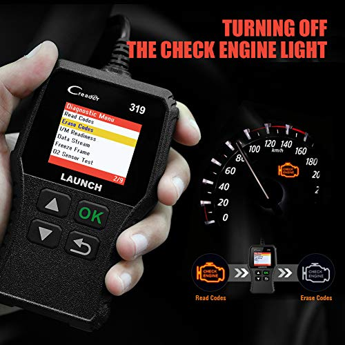 LAUNCH OBD2 Scanner CR319 Check Engine Code Reader with Full OBD2 Functions, Car Engine Fault Code Reader CAN Scan Tool, Supports Mode6 O2 Sensor and EVAP Systems with DTC Lookup