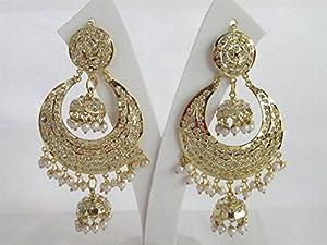 Amazon.com : Long Gold Jadau Double Jhumki Jhumka Earrings