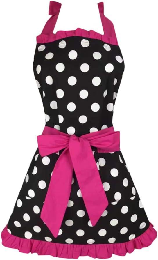 Kitchen Aprons Woman Retro Vintage Girl Polka Dot Cooking Pinafore Christmas Apron Dress (Dot Dark Pink)
