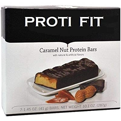 Proti Fit Protein Bar - Caramel Nut Protein Bar - 15g - Low Carb - Low Calories 170- Weight Loss Snack Bar for Healthy Diets, Hunger Control, Appetite Suppressant,7 Count (1.7 OZ NET Weight 11.6 OZ)