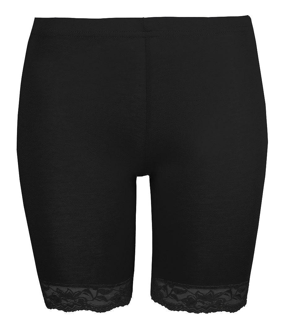 Love Lola/® negros Pantalones cortos de ciclismo para mujer ajustados con encaje