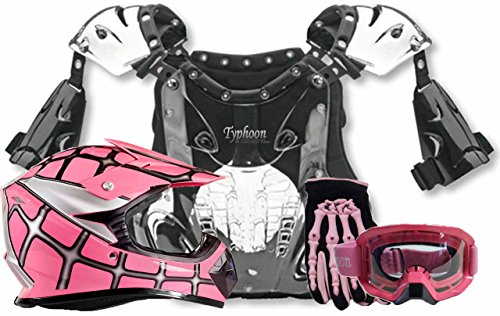 Youth Kids Peewee Offroad Gear Combo Helmet Gloves Goggles Chest Protector Motocross ATV Dirt Bike Spiderman Pink - Small