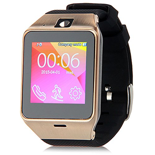 Padgene Bluetooth Smartwatch NFC Waterproof Watch for Android Smartphones Samsung HTC Sony (Gold)