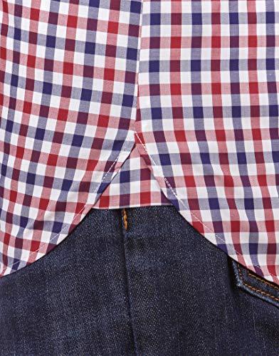 Homme Slim Manches Coupe fit bordeaux Vincenzo Infroissable Cintrée 5 longues Chemise Tissu Kent Unie Agréable Boretti Coton Foncé 100 Et Col bleu qEq4Xw