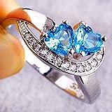Fashion Women Heart Blue White Gemstone Silver Ring Fashion Jewelry Sz 6 7 8 9 (9)
