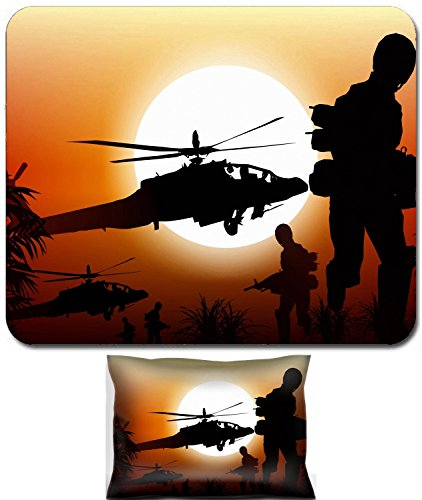 Luxlady Mouse Wrist Rest and Small Mousepad Set, 2pc Wrist Support design Soldiers in Action Marine and Helicopters Sunset Silhouette Background Illustration IMAGE: 25191999 ()