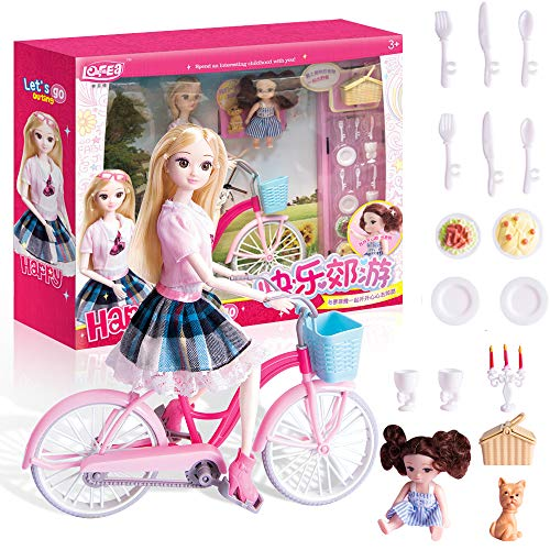 YASSUN Puzzle Doll, Happy Outing, Bicycle Pet Picnic Set, Play House Toy 15×3.7×13.4inch