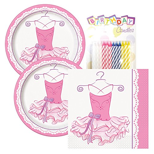 Ballerina Birthday Party Tableware Plates and Napkin Bundle (Serves 16)