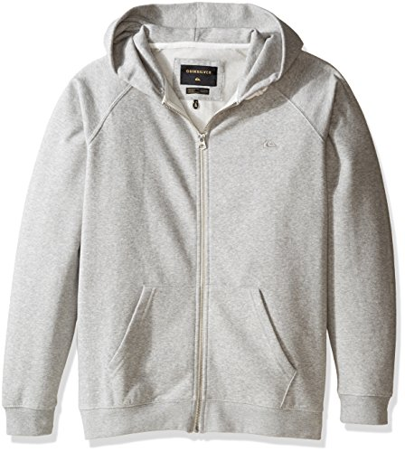 Quiksilver Big Boys' Everyday Zip Youth Fleece Top, Light Grey Heather, 12