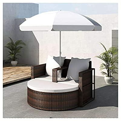 HomyDelight Outdoor Bed, Garden Bed with Parasol Brown Poly Rattan